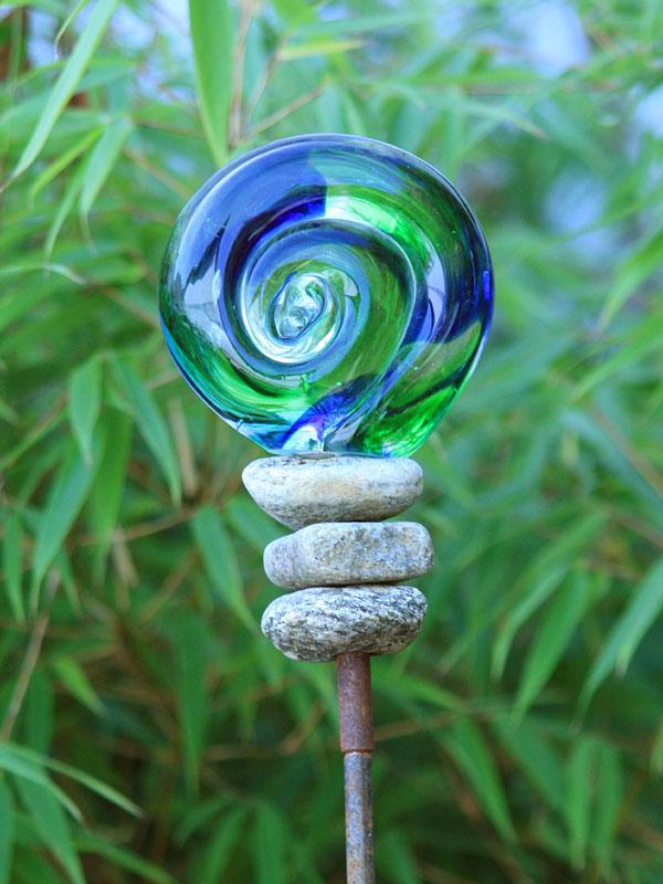 Gartenstecker beetstecker glaskugel 120cm stein gartendeko - Glas gartendeko ...